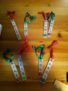 Scrabble ornaments made by Jennifer Bormann, 2011