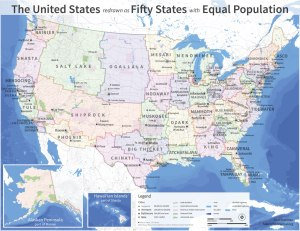 Fifty US States Redrawn with Equal Population