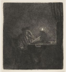 Rembrandt, Scholar at a Table by Candle-light