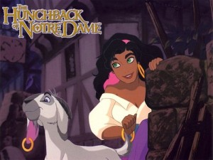 "Cartoon gypsy Esmerelda in Disney's ""The Hunchback of Notre Dame"""
