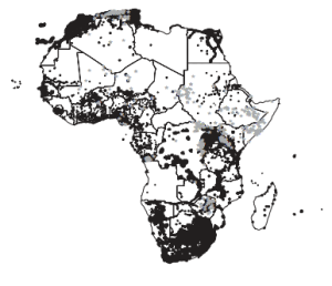 Cell phone coverage (black) and conflict locations (grey) in Africa (Pierskalla and Hollenbach, 2013: Fig. 1)
